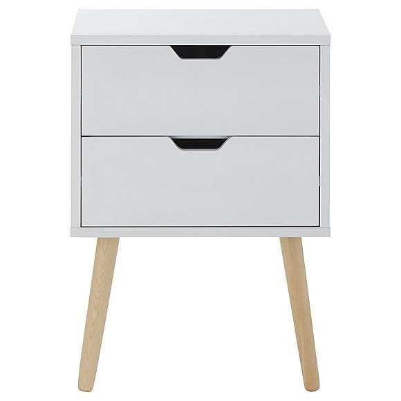 Scandinavian Style Bedside Table With Grey Painted Drawers