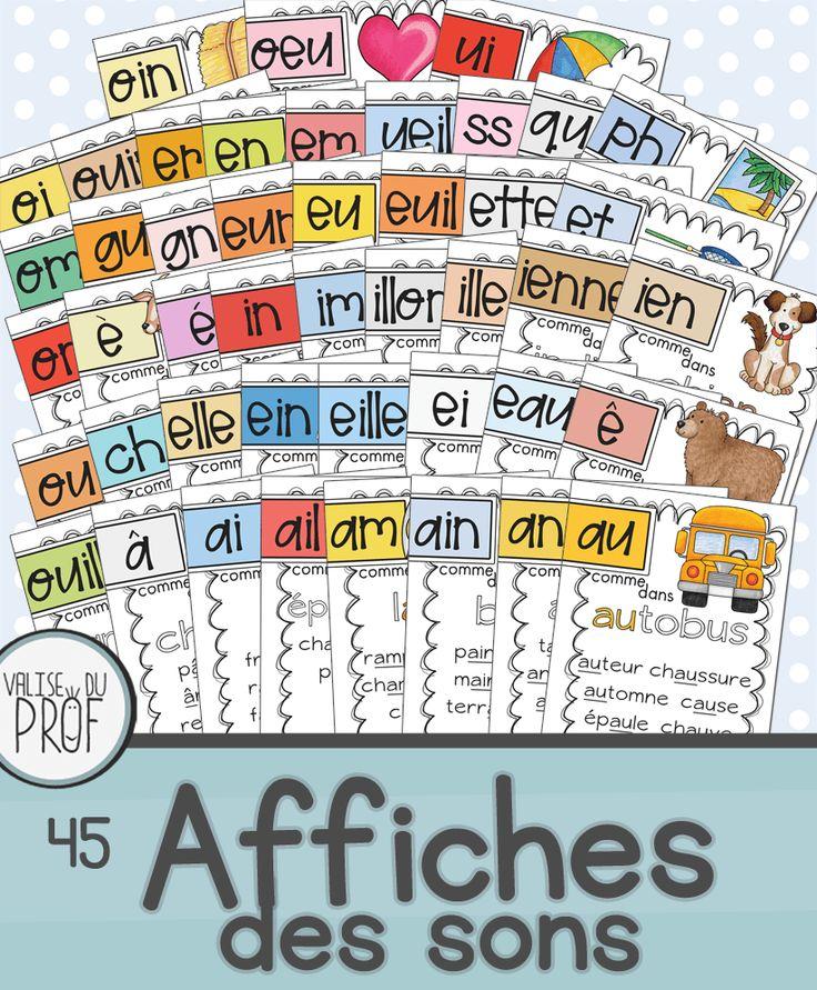 Ce document contient 45 affiches de sons: -ien, ienne, ail, an, euil, im, é, ê, è, ph, eu, au, tion, ette, ueil, am, ai, oin, ouin, ss, qu,gu, in, ui, oi, ille, ein, en, em, illon, er,et, ain, elle…