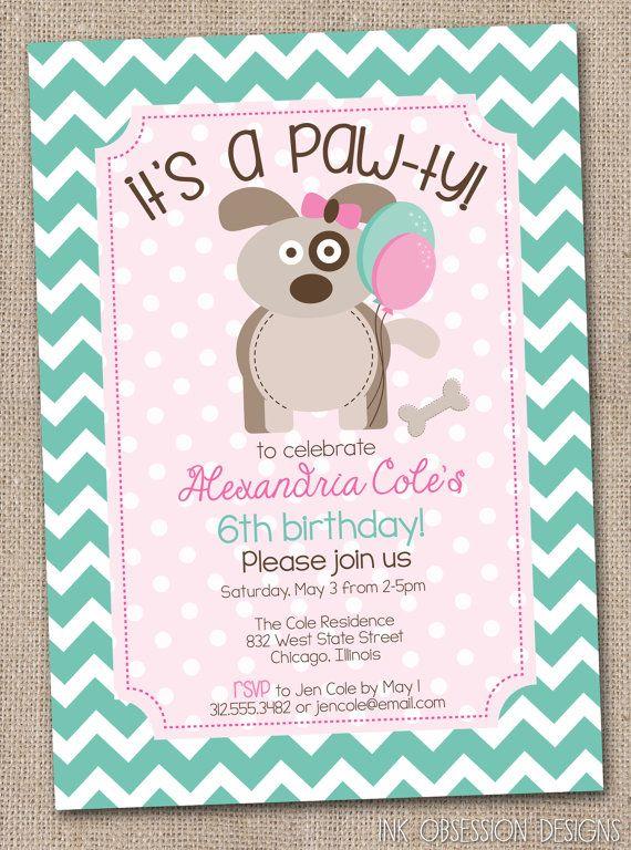 Girls Puppy Party Birthday Party Invitation Printable Puppy Pawty Birthday Invite Pink Aqua Chevron Stripes