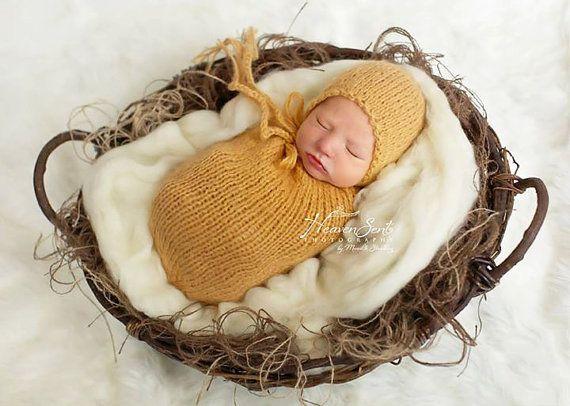 Swaddle Sack and Classic Bonnet Newborn by SquishyBabyStuff