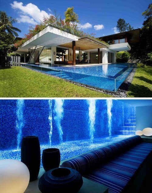 Underground basement that shares a wall with the pool