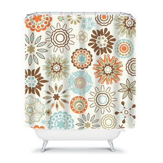Floral Shower Curtain Flowers Custom Monogram Personalized