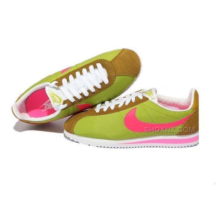 Nike Cortez Women Nylon Shoes Green Pink Brown, Price: $79.00 - Shox NZ - Nike Shox NZ Running shoes - ShoxNZ.com