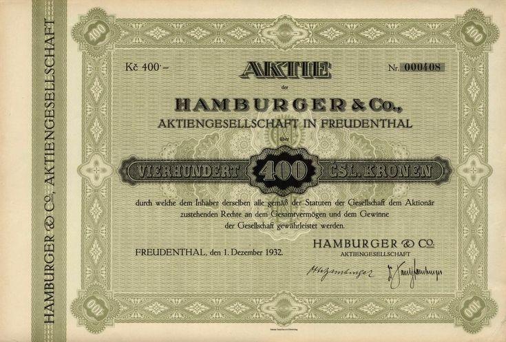 Hamburger a spol., akciová společnost v Bruntálu (Hamburger & Co., Aktiengesellschaft in Freudenthal). Akcie na 400 Kč, Freudenthal (Bruntál), 1932.