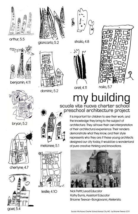 """My Building - Scuola Vita Nuova Charter School Preschool Architecture Project: It is important for children to see their work, and the knowledge they bing to the subject of architecture. They all have their own interpretation of their architectural experience..."""" ≈≈ http://pinterest.com/kinderooacademy/documentation/"""