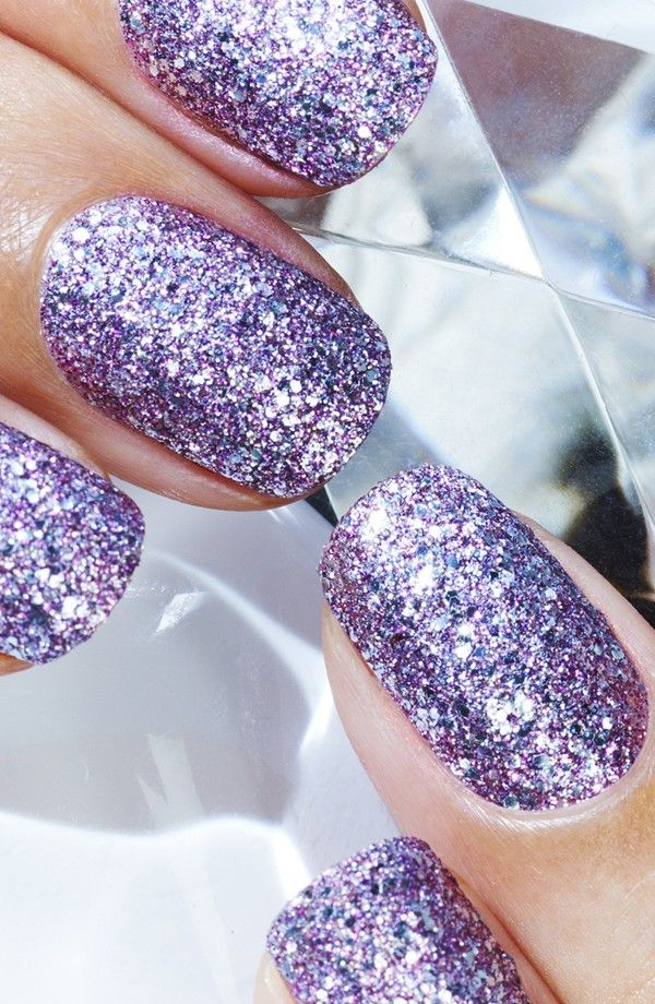 I\'m obsessed with this~Sparkles like a diamond~purple mani...LOVE IT ...