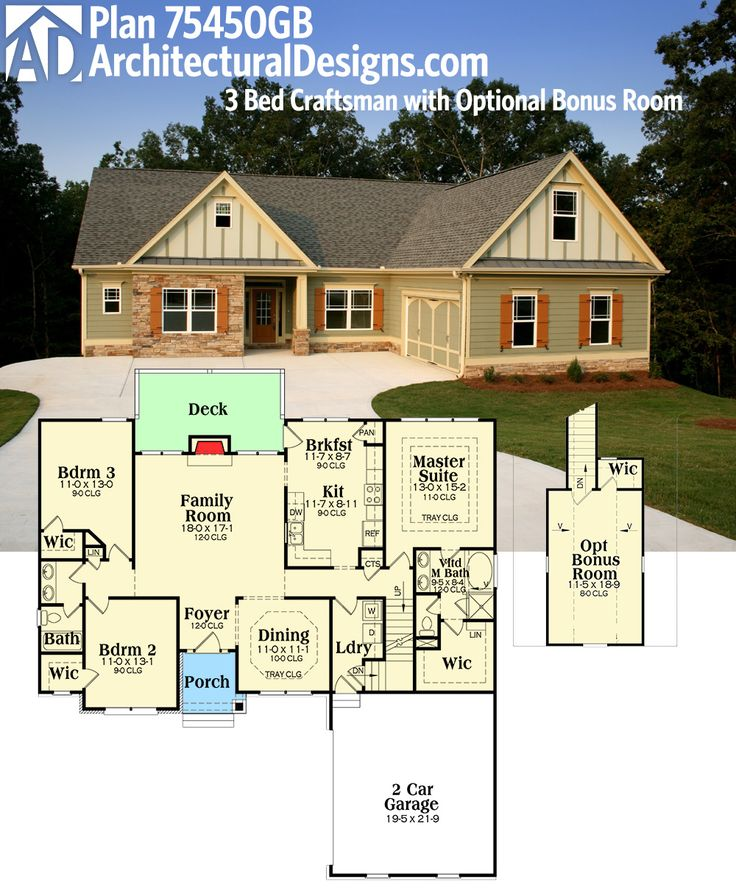 Plan 75450gb 3 bed craftsman with optional bonus room for One level house plans with bonus room