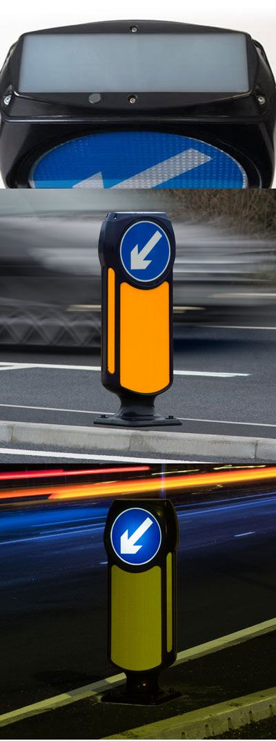 The Solar Signmaster™ LED self righting keep left traffic bollard is a smart 'zero energy' highway safety solution. The bollard and below ground battery chamber are passively safe and drive-through tested to meet BS EN 12767 (70, NE4). During daylight hours, the solar panel charges the large capacity batteries which are housed in the sealed (IP67 rated) below ground chamber.
