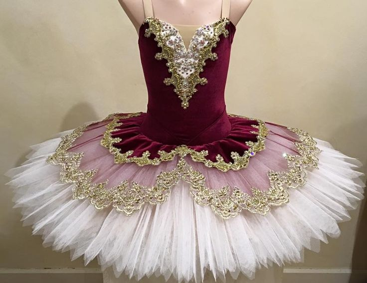 Burgundy cream and gold stretch tutu by Tutus by Dani, Australia.