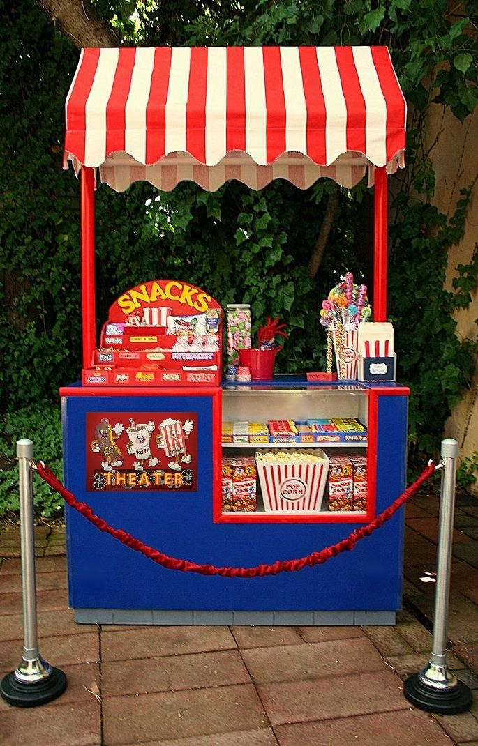Backyard Movie Snack Bar/Concession Stand Can be converted to baseball/carnival stand ShariesCandyBuffets.com Sacramento,CA
