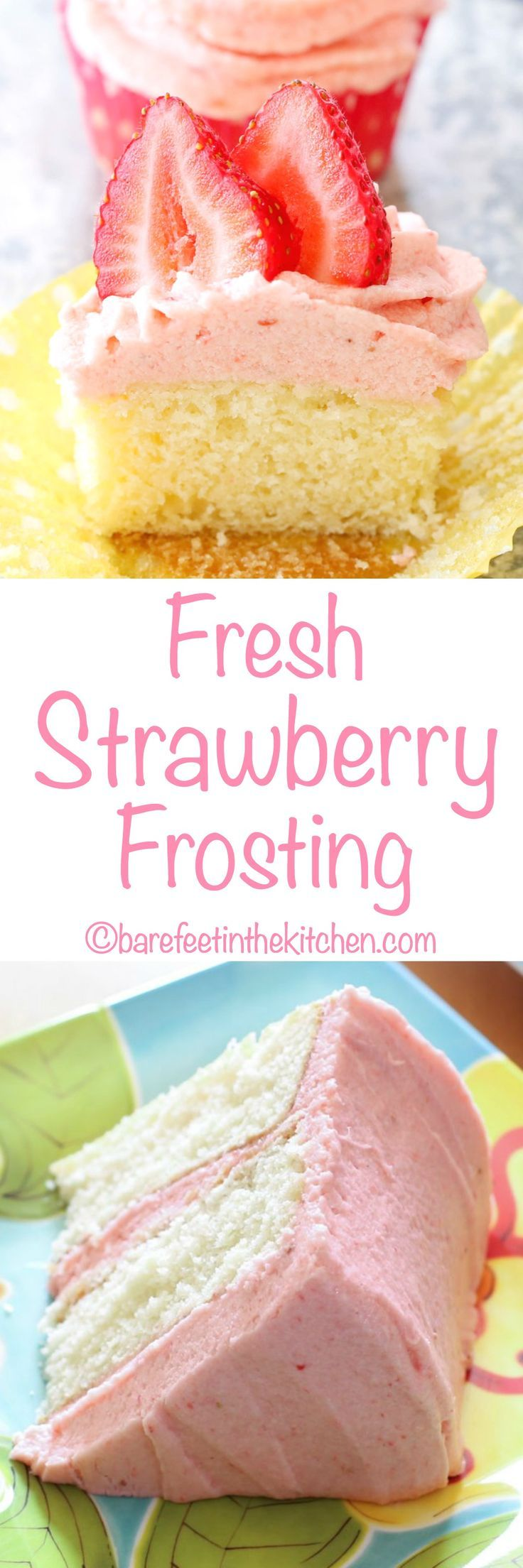 Fresh Strawberry Frosting is a strawberry lover's dream come true! Get the recipe at barefeetinthekitchen.com