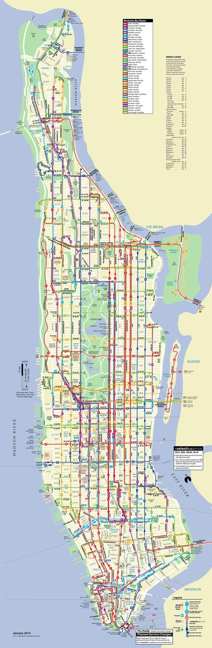 Map of Manhattan bus network
