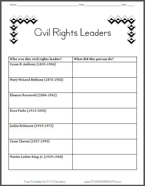 Printables Social Studies 5th Grade Worksheets 1000 images about black history month on pinterest social civil rights leaders table graphchart worksheet for grade 2 ccss studies