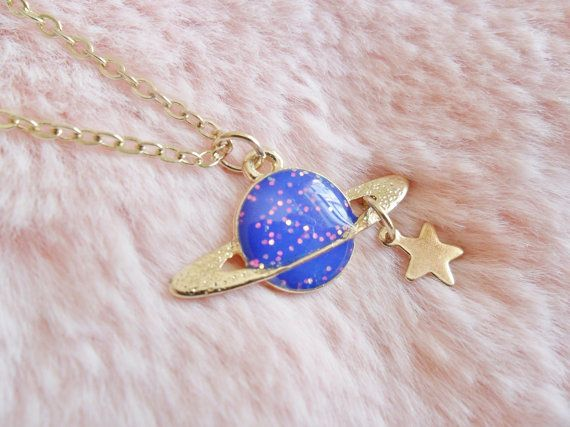 Glitter Saturn Space Planer Necklace