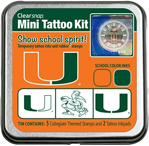 Clearsnap Mini Tattoo Kit, University of Miami, Temporary Tattoo Ink and Stamp Set - http://tattookits.co/clearsnap-mini-tattoo-kit-university-of-miami-temporary-tattoo-ink-and-stamp-set/