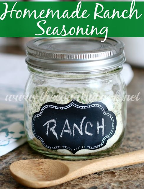 Homemade Ranch Seasoning Recipe from The Country Cook. Ranch dressing, homemade, country, southern, cooking, gluten free, preservative free, prepper, do it your self, seasoning