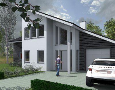 Een prachtig speels ontwerp in Eelderwolde. De woning zal worden gebouwd door Zweedshome. De gevels bestaan uit stucwerk en horizontale houten delen.