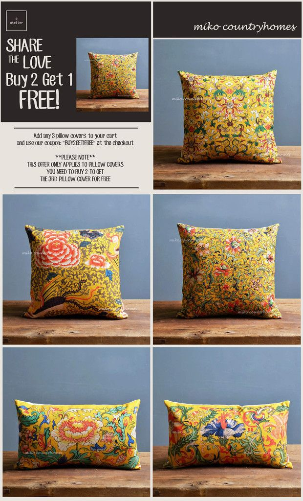 $15 | Chinoiserie Yellow Auspicious Floral Art Motif | Throw Pillow Cover #Chinoiserie #HomeDecor #PillowCovers #DecorTrends #BUY2GET1 #GiftsForHer #GiftsIdeas #Decorate