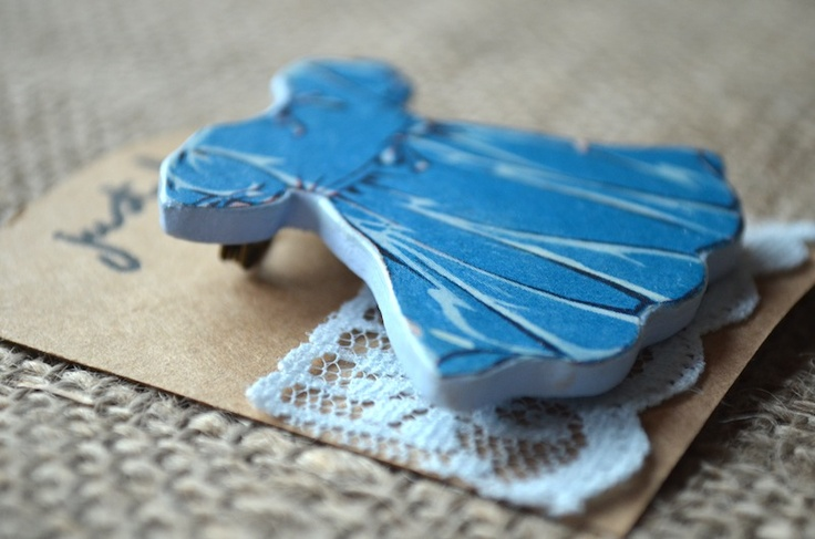 Pretty Blue Dress Brooch  £10  Vintage Paper from 1920s    www.justlucy.bigcartel.com
