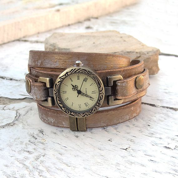 Womens leather watch Rustic Wrist Watch Leather cuff by Jullyet