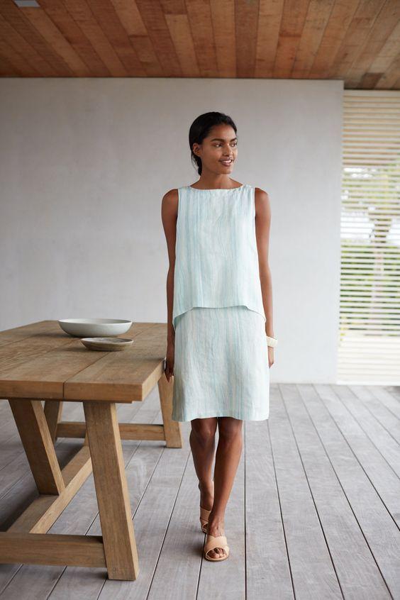 Pure Jill printed tiered linen dress