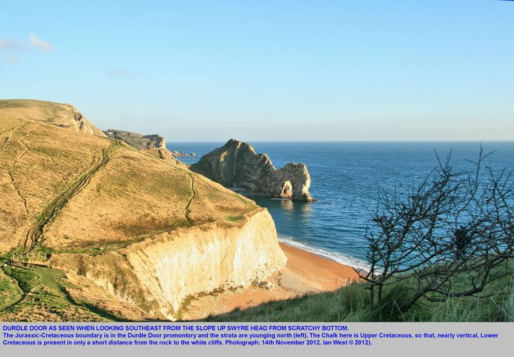 Durdle Door, near Lulworth Cove, Dorset, as seen from the slopes of Swyre Head, 14th November 2012