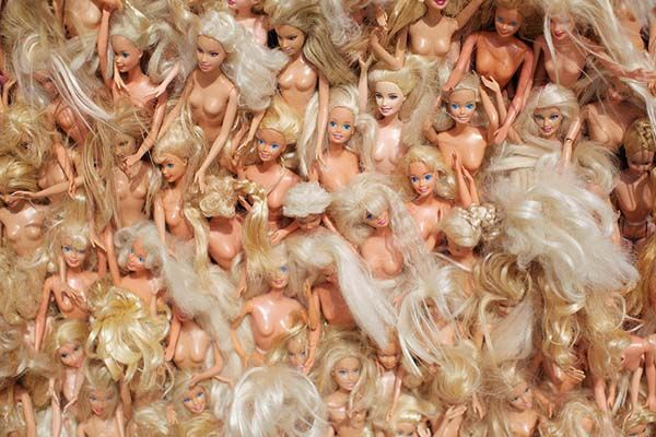 """Wave 1"" was crafted from over 3,000 Barbie dolls, collected from various thrift stores."
