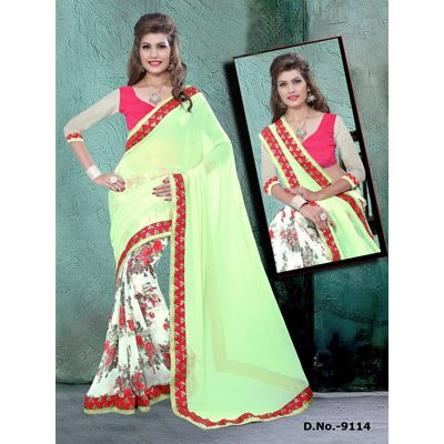 Buy Sareeline Green Faux Georgette Saree by Mor Mukut Fashion, on Paytm, Price: Rs.2001