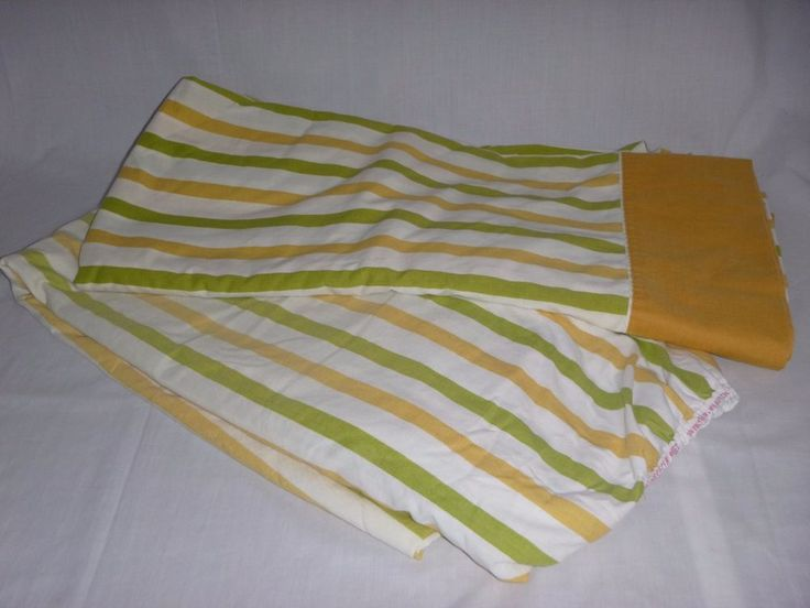 Vtg Cannon Monticello Full Flat & Fitted Green Gold Stripe Muslin Sheet 50/50  | eBay