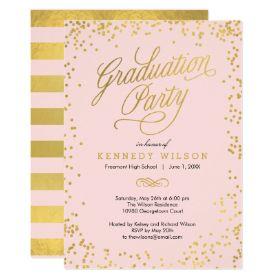 Shiny Confetti Graduation Party Invitation Pink | Custom Personalized Graduation Invitations