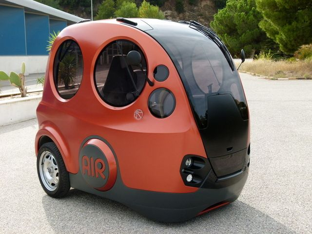 Tatta AirPod: powered by compressed air, and has an electric compressor onboard to replenish the supply. Downside: single seat, looks like it escaped from the Small World ride at Disneyland.