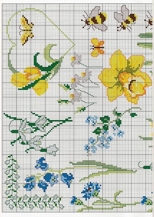 voorjaarsbloemen kruissteekpatroon 2
