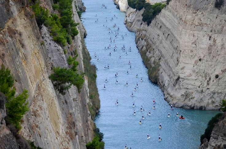 Hellenic Sup Cup 2014 - Rowing on the Corinth canal | AlternaGreece