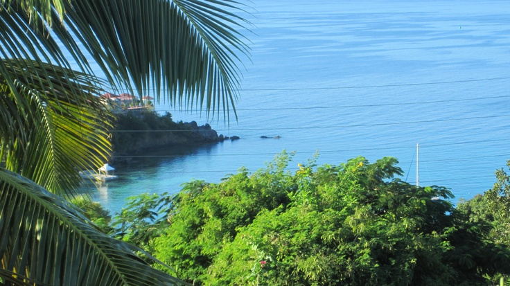 The view from the villa we rented at St. Thomas in Carribien. I could live with that view, if you forced me :-).