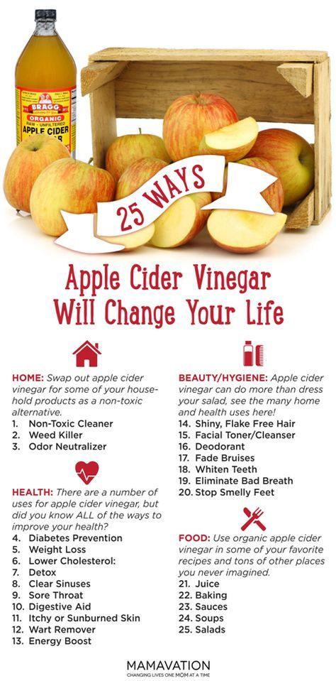 Some of the many benefits are: 1. Helps Weight Loss Apple cider vinegar speeds up metabolism and promotes weight loss. When mixed with water and taken before every meal, the acetic acid increases m…