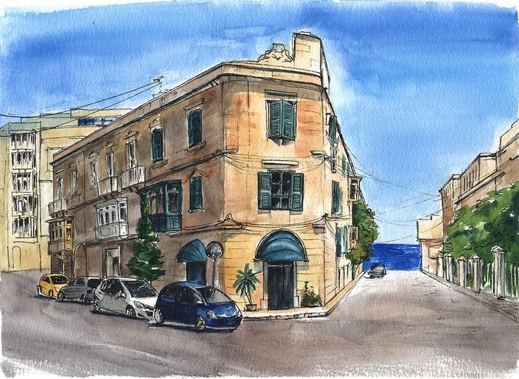 'Quiet Street in Sliema' by Ekaterina Chepikova. A sunny street in maltese town Sliema. An in the background there's a small part of Mediterranean sea...! This sketch was drawn with pen and watercolor, the size is A4.