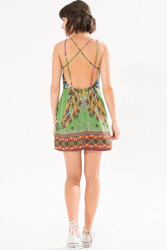vestido curto pavão de cor   FARM                                                                                                                                                                                 Mais
