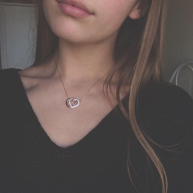 Swarovski necklace rose gold and crystal