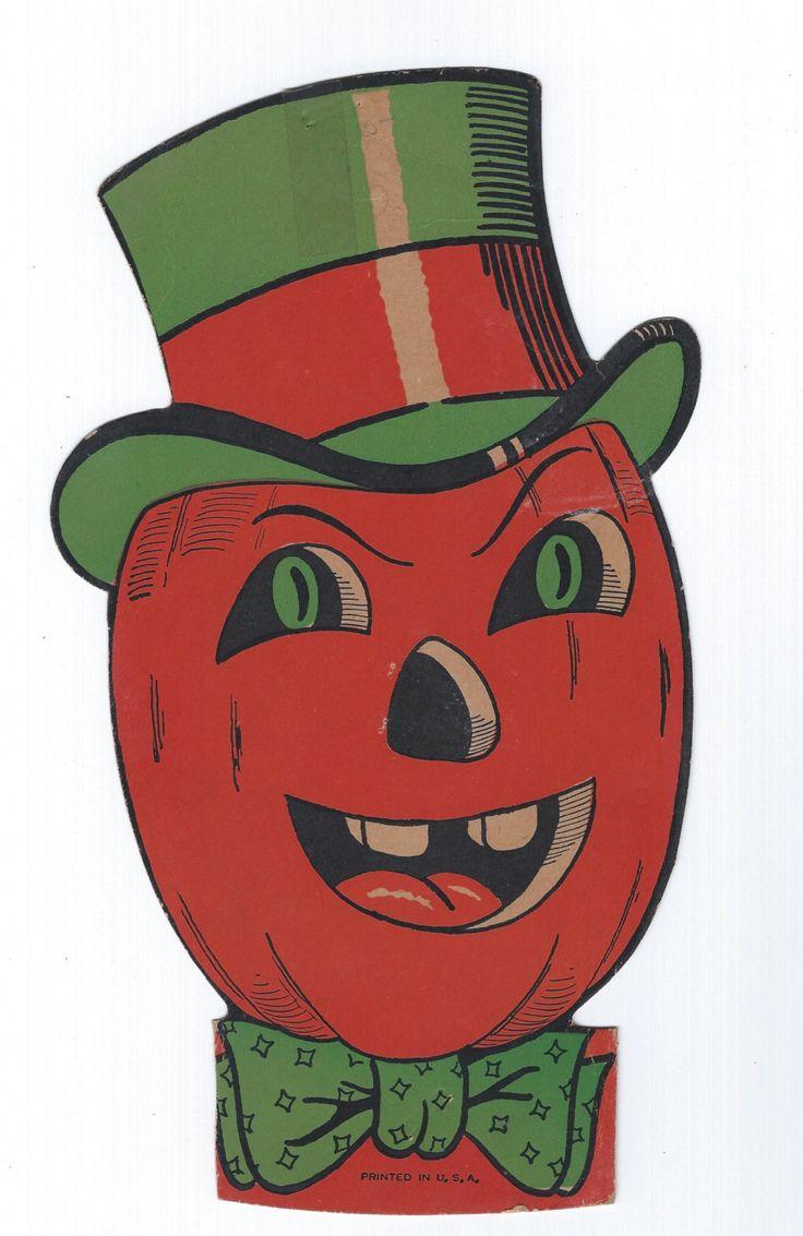 Vintage halloween paper decorations - Vintage Halloween Jack O Lantern Pumpkin Man With Top Hat Usa Beistle Halloween Die Cut 1950s Halloween Decor
