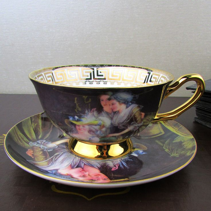 European Royal Bone China Mug Tea Cup Vintage Coffee Cups And Saucers-Oil Painting Noblewoman Porcelain cup and Tea Saucer
