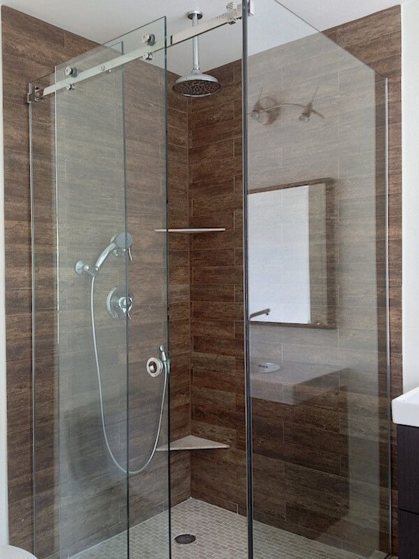 Frameless Sliding Shower Glass Door And Two Fixed Panels With