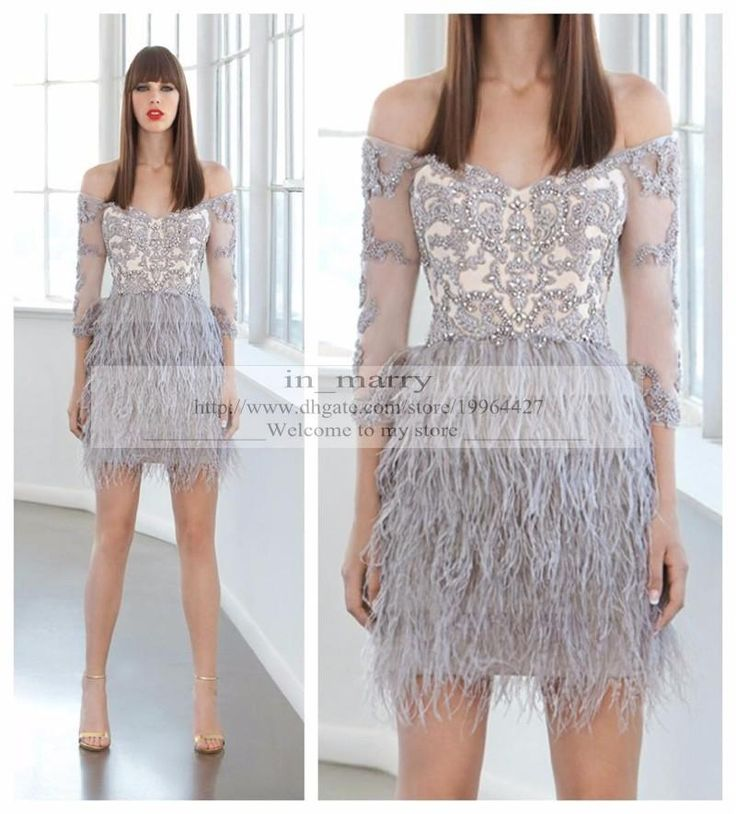 2016 Grey Feather Lace Cocktail Party Dresses Sheath Off Shoulder 3/4 Long Sleeves Beaded Knee Length Short Formal Dresses Evening Wear Gown Lace Cocktail Dresses Short Party Gowns Grey Cocktail Dresses Online with $189.72/Piece on In_marry's Store | DHgate.com