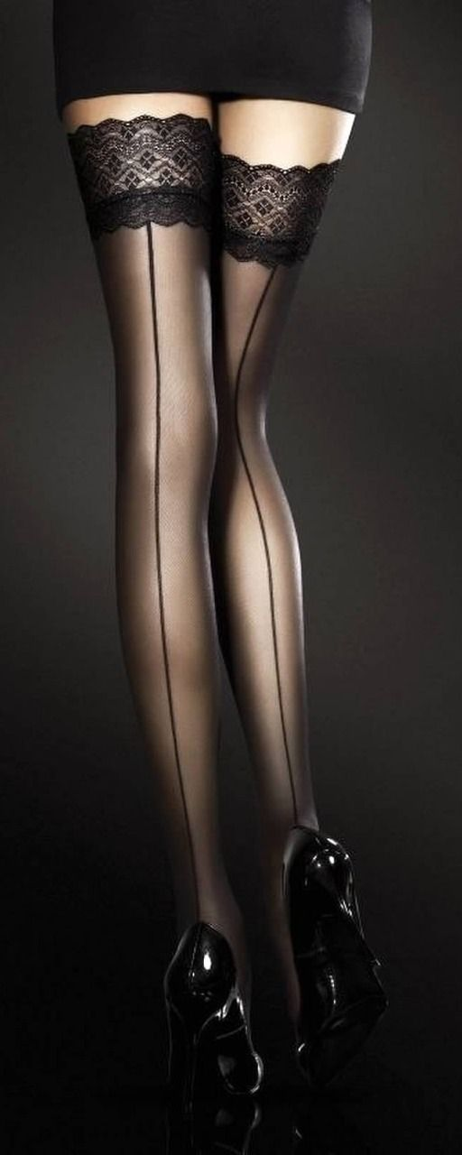 Black thigh-high stockings, lace tops, seam up the back: perfection in sexiness.                                                                                                                                                                                 More