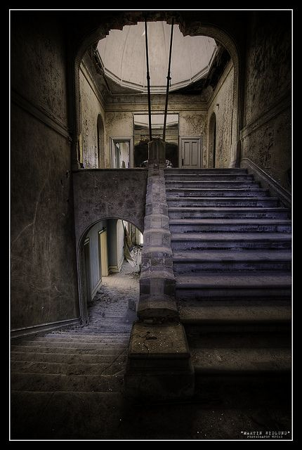 Staircase in an abandoned school for girls in England.