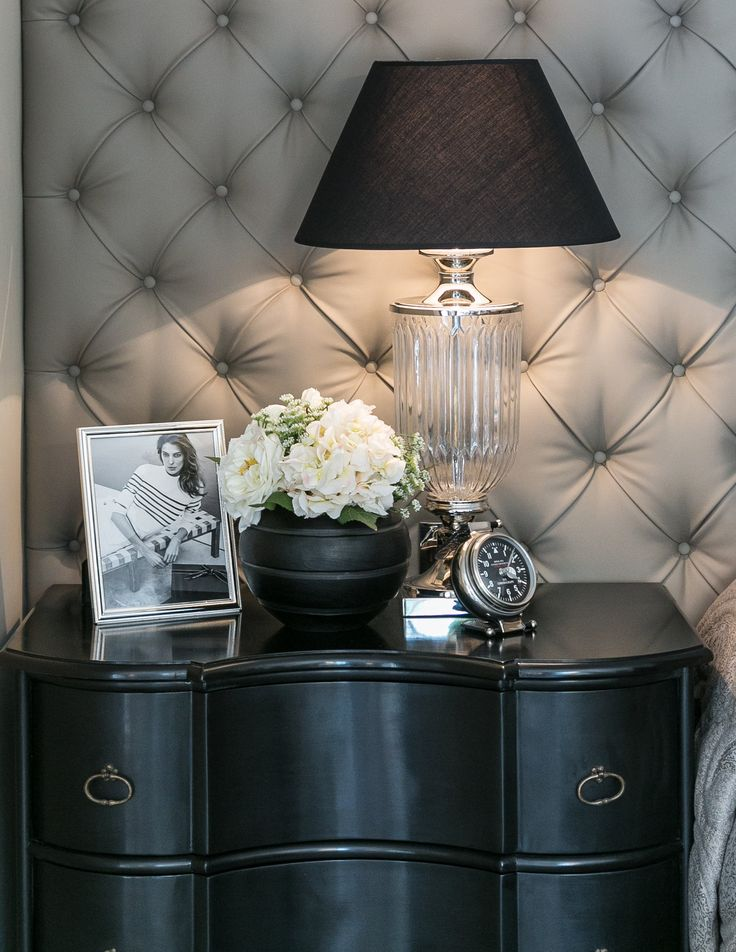 The Light Tones Of This Glamorous Bedrooms Padded Wall In Sumptuous Kirkby Design Fabric Contrast With