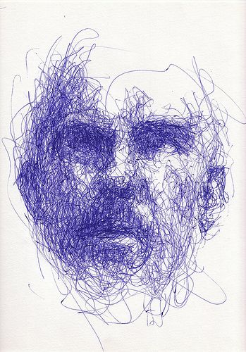 "weird face (mine again), weird angle and lighting,  via webcam, 16""x12"" Bic Cristal Gel Medium pen on paper"