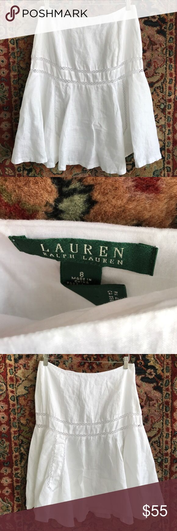 """LRL Linen Trumpet Skirt Elegance and feels like luxury. Lace details create shape while Linen flows. Side zip and in excellent condition. 15.25"""" waist and 23.5"""" L Lauren Ralph Lauren Skirts A-Line or Full"""