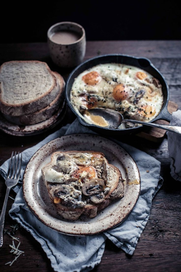 Creamy mushrooms and eggs with black truffle   – Breakfast