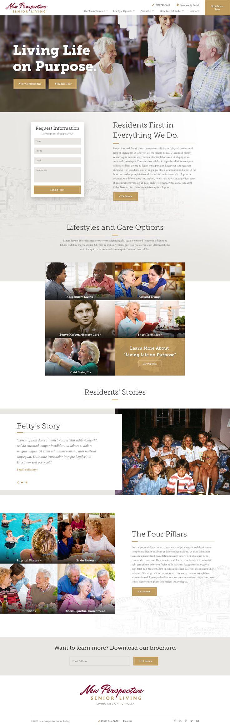 Senior living website design by: Mike Delsing