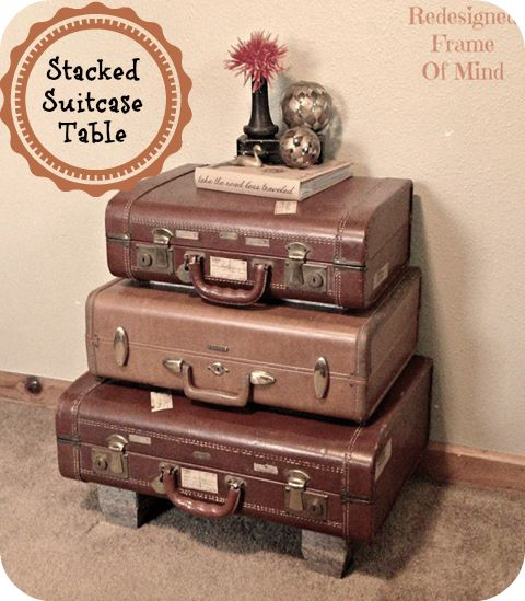HOW TO BUILD A STACKED SUITCASE TABLE  {GUEST SPEAKER TAMMY SCHULTZ} A fabulous tutorial on creating a one-of-a-kind table using those vintage suitcases that we KNOW you have been collecting.